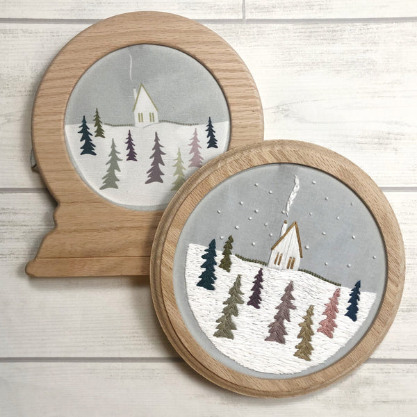 Cozy Cabin Embroidery Pattern Pre-Printed Fabric