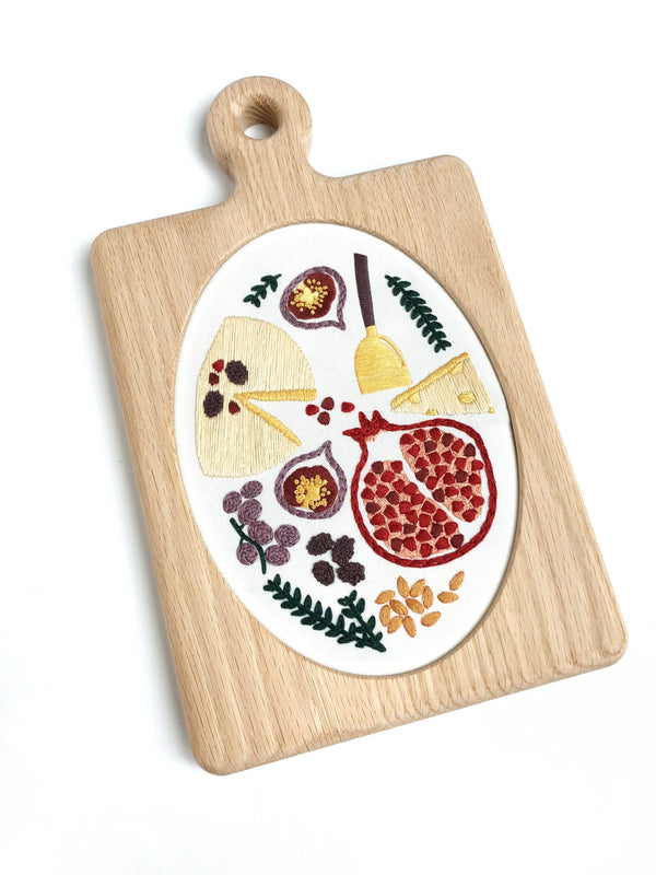 Charcuterie Embroidery Pattern Pre-Printed Fabric