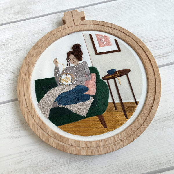 Embroidery Girl Embroidery Pattern Pre-Printed Fabric