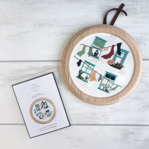 Neighbors Embroidery Pattern Pre-Printed Fabric