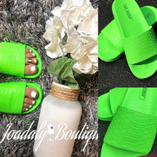 Load image into Gallery viewer, TRENDY NEON GREEN SANDALS