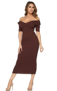Brown ribbed Midi dress