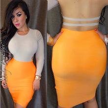 Load image into Gallery viewer, Acid Orange  Bandage Skirt