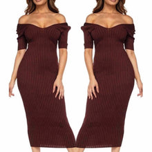 Load image into Gallery viewer, Brown ribbed Midi dress