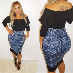 High Waist  Denim Pencil Skirt