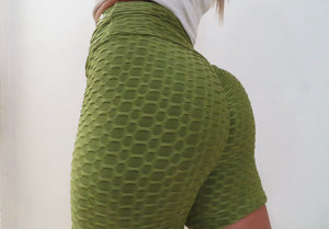 Lime Ruched Biker Shorts