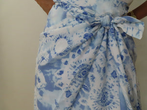 Baby Blue Printed Maxi Skirt