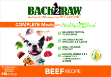 Load image into Gallery viewer, Back2Raw Complete Meal Beef Recipe 4lb