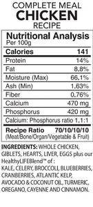 Back2Raw Complete Meal Chicken Recipe Nutritional Analysis