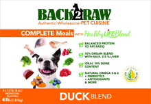 Load image into Gallery viewer, Back2Raw Complete Meal Duck Blend 4lb