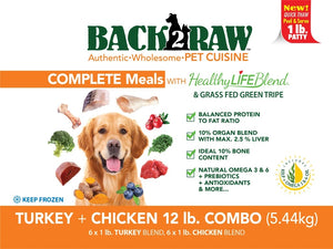 Back2Raw Complete Meals Turkey and Chicken Combo 12lb