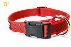 Julius K-9 Webbed Dog Collar Red Buckle