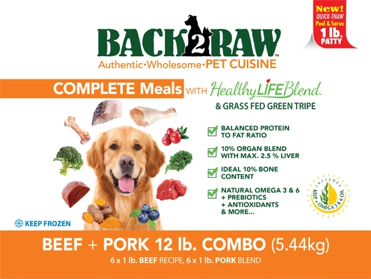 Back2Raw Complete Meals Beef and Pork Combo 12lb