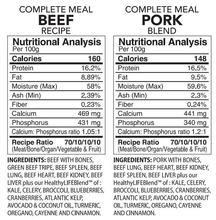 Load image into Gallery viewer, Back2Raw Complete Meals Beef and Pork Combo Nutritional Analysis