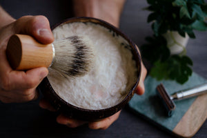 Shaving gifts - peppermint shaving soap in a coconut bowl