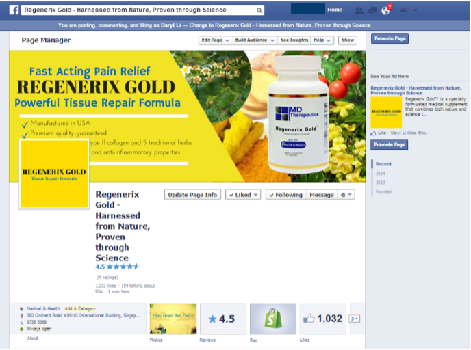 Regenrix gold rapid relief Facebook