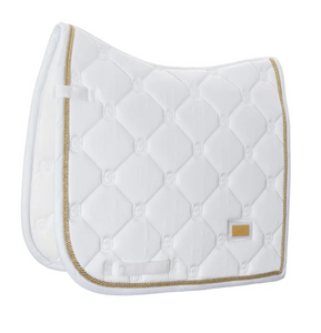 Equestrian Stockholm Dressage Pad White Perfection Gold
