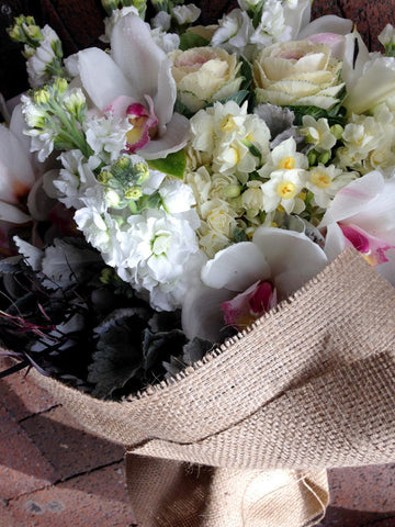 Fragrant and Elegant Heshian Wrapped Flower Bouquet