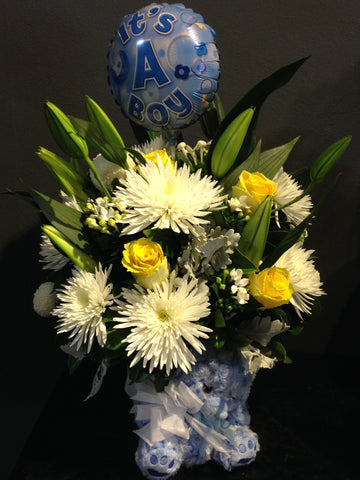Flower Arrangement Teddy and Balloon Flower Arrangement
