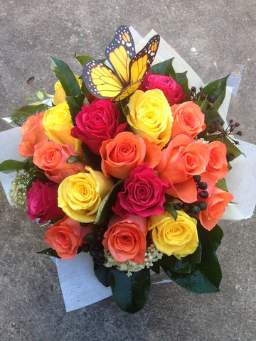 Bright Mixed Rose Arrangement