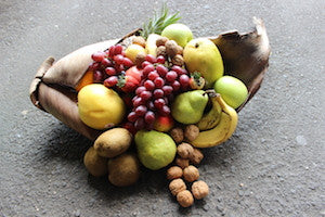 Fruit husk hamper with nuts