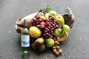Fruit and white wine hamper