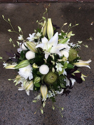 Funky textured white and green flower arrangement
