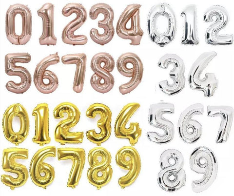 Foil large individual number balloons (weighted)