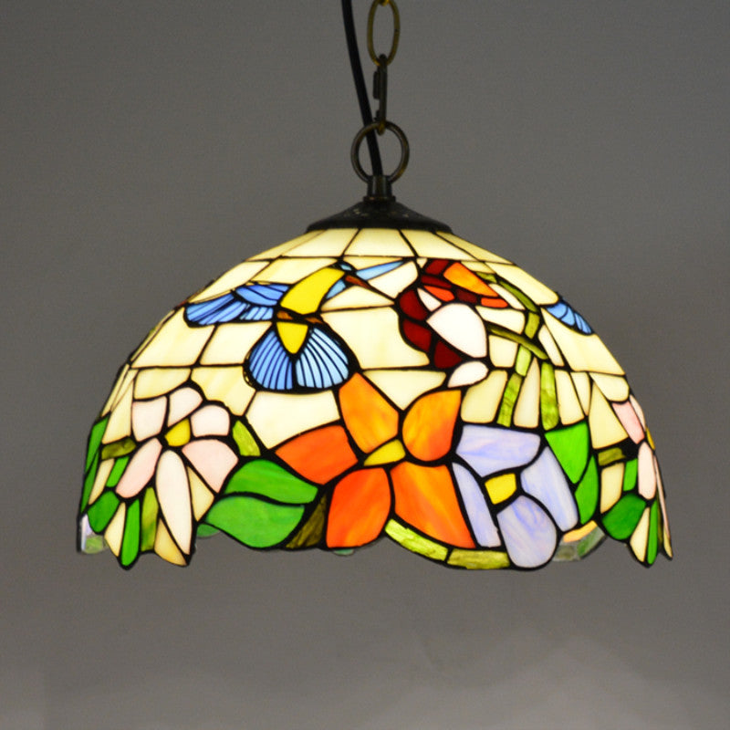 12in Dia Vintage Stained Glass Pendant Lamp Tiffany Hanging Lamp Vamalighting