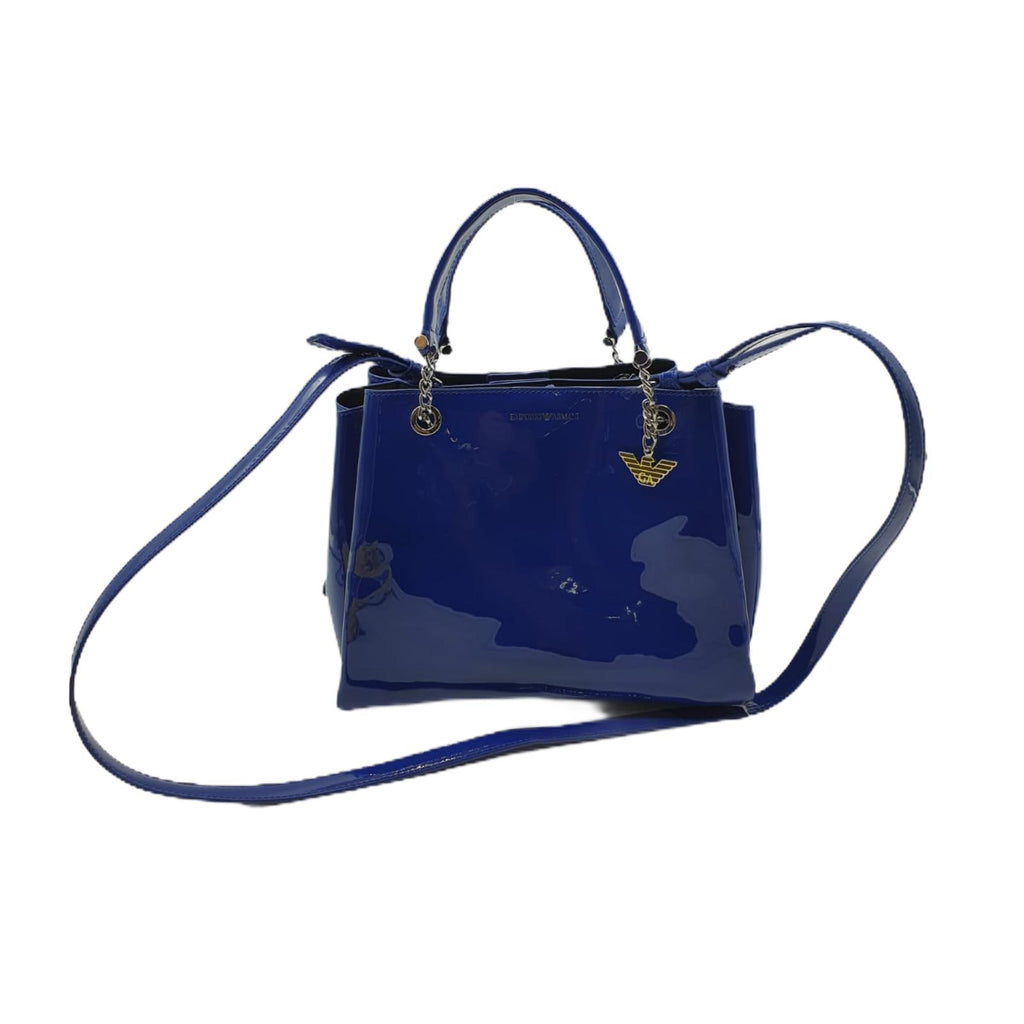 Borsa Emporio Armani Shopping Bag Simil Vernice Blu