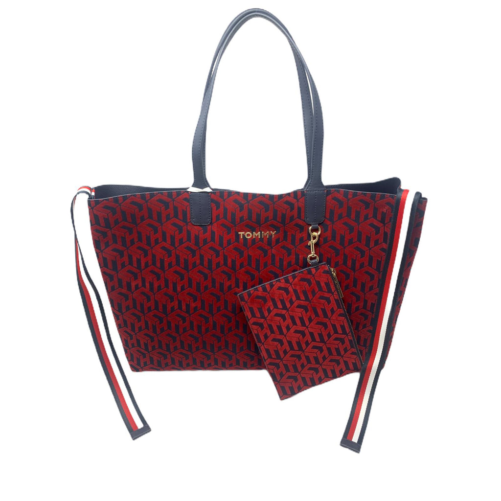 Borsa Tommy Hilfiger Conic Velluto Red Blu