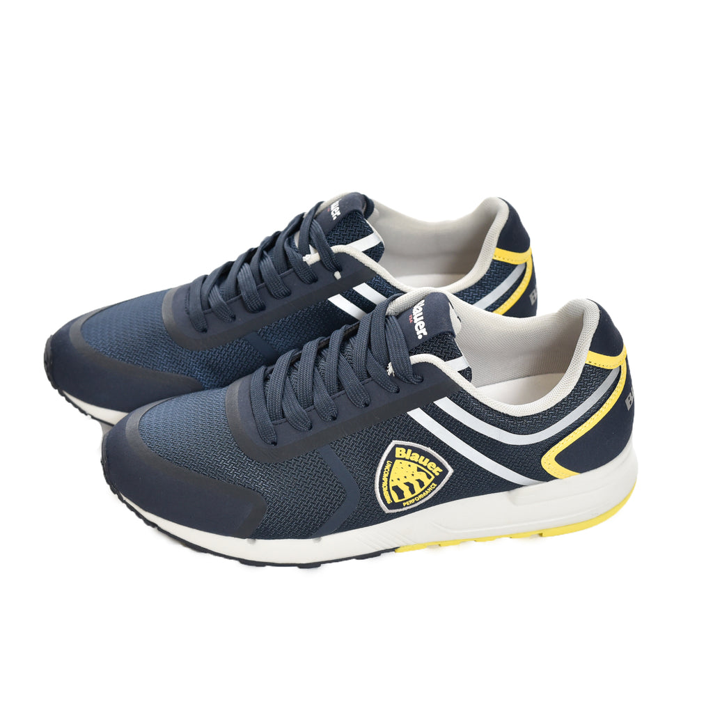 Scarpa Blauer Performance Blu Uomo Scarpetta Navy Yellow Blue