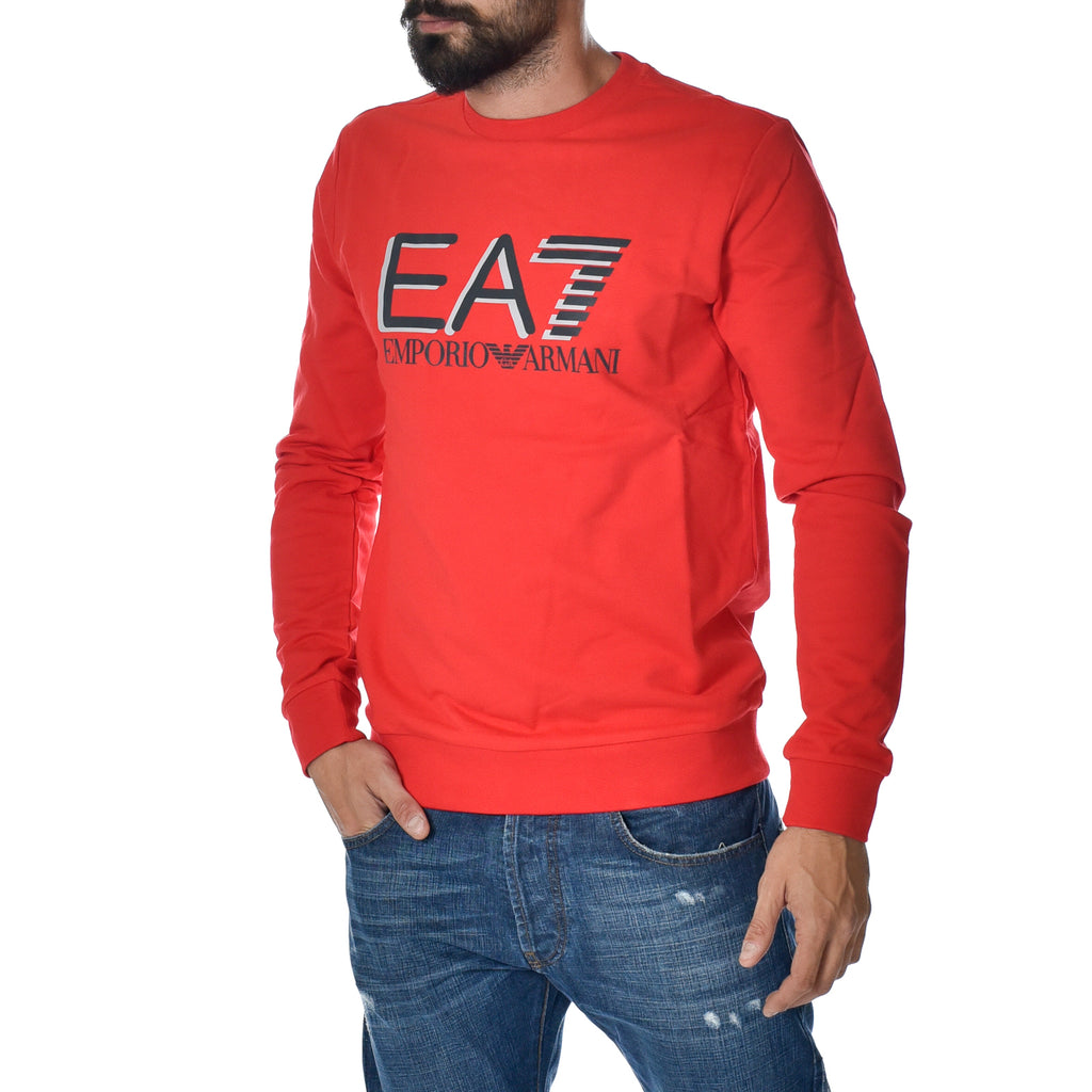Felpa EA7 Emporio Armani Sweat Shirt Linear Red Slim Sports Armani