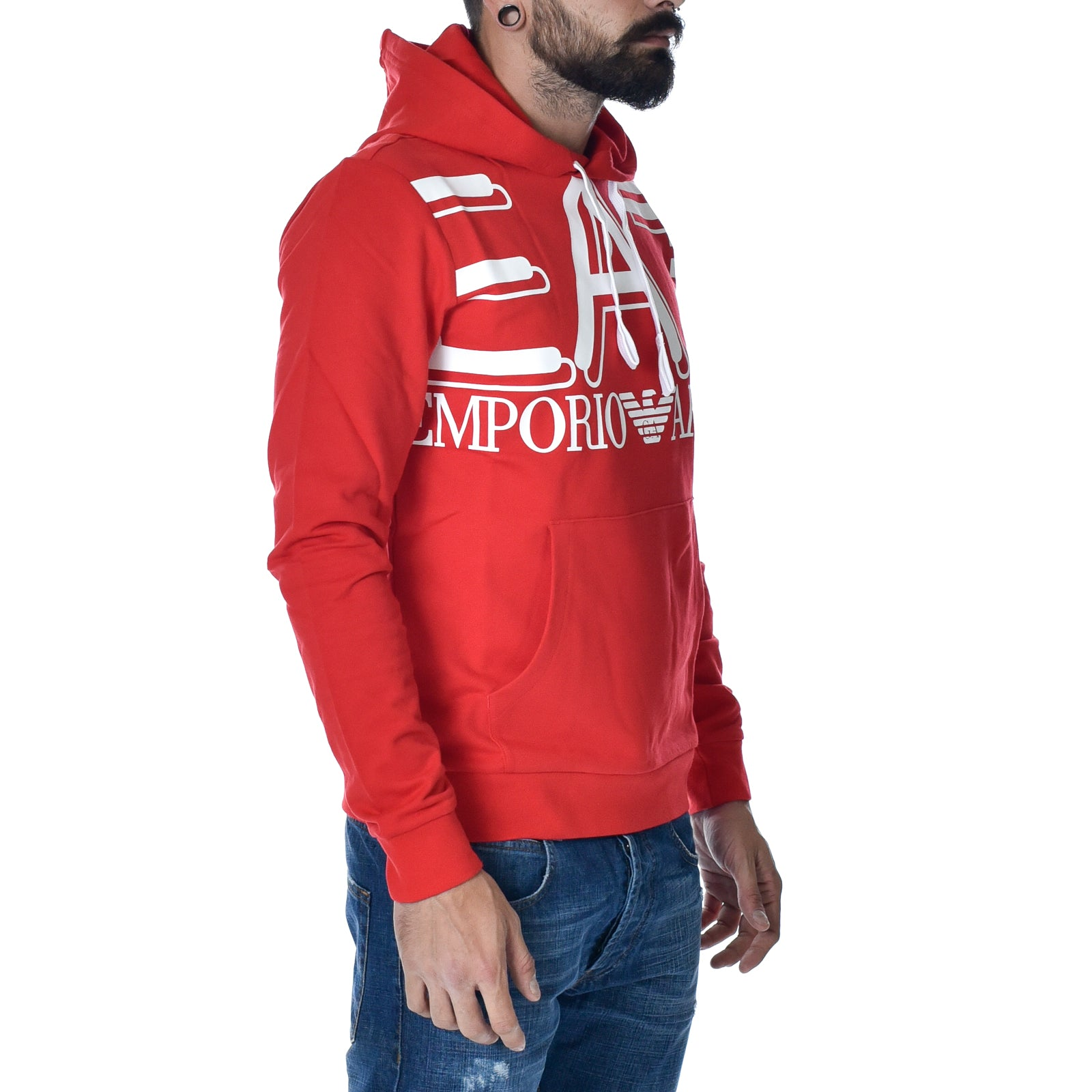 Felpa EA7 Emporio Armani Sweat Shirt Red Cappuccio Sports