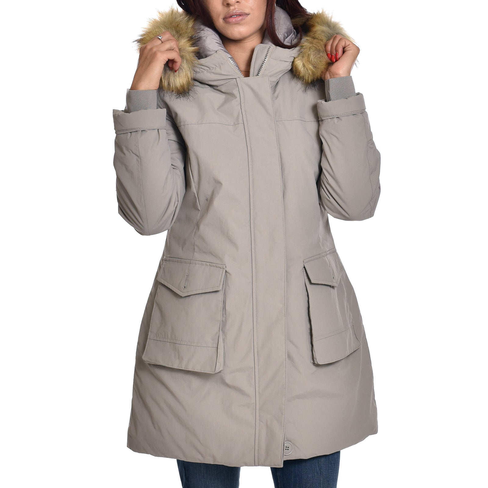Parka Henry Cotton's Piumino Giubbotto Grigio  Button Pocket Donna