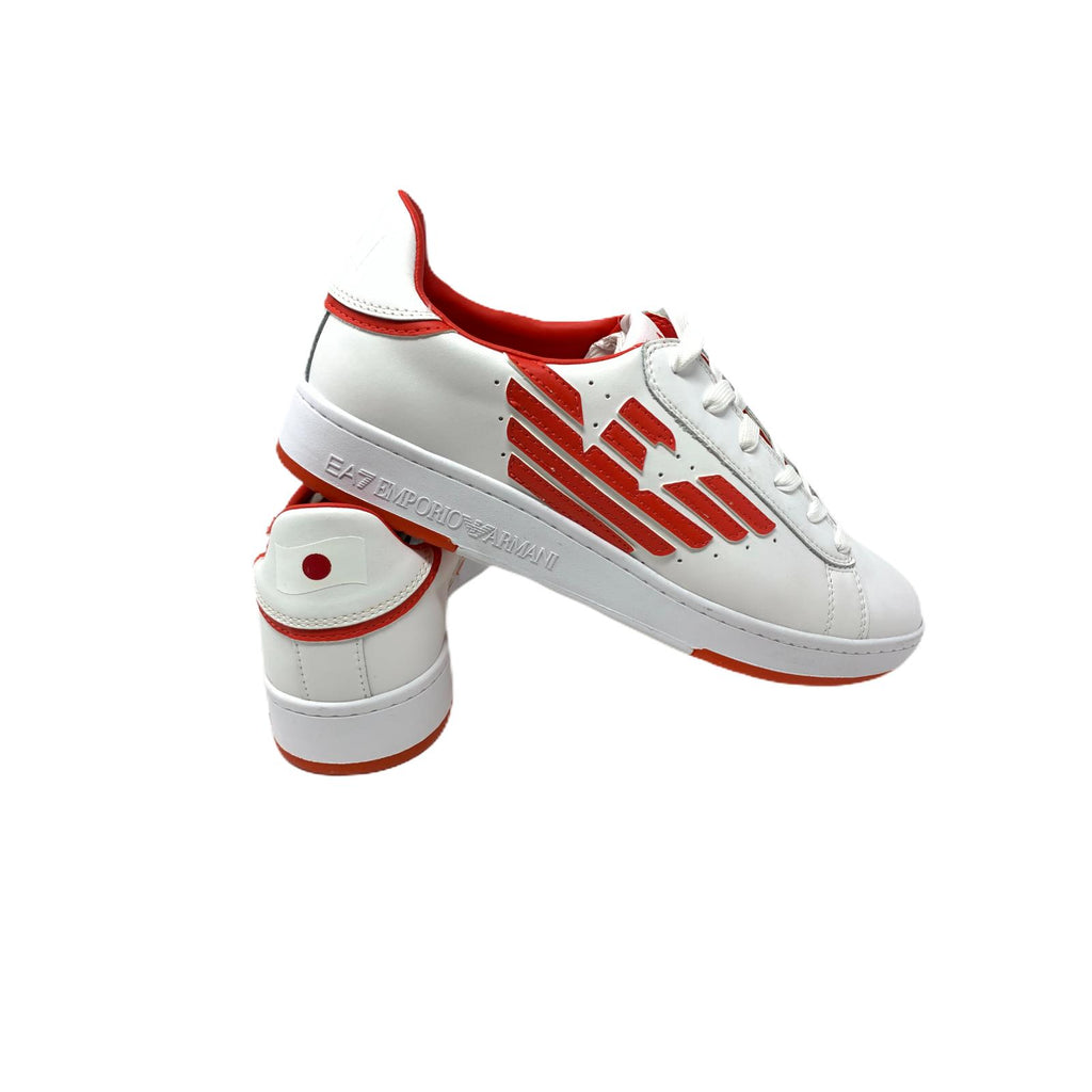 Scarpa Emporio Armani EA7 Action Leather Soft White Red