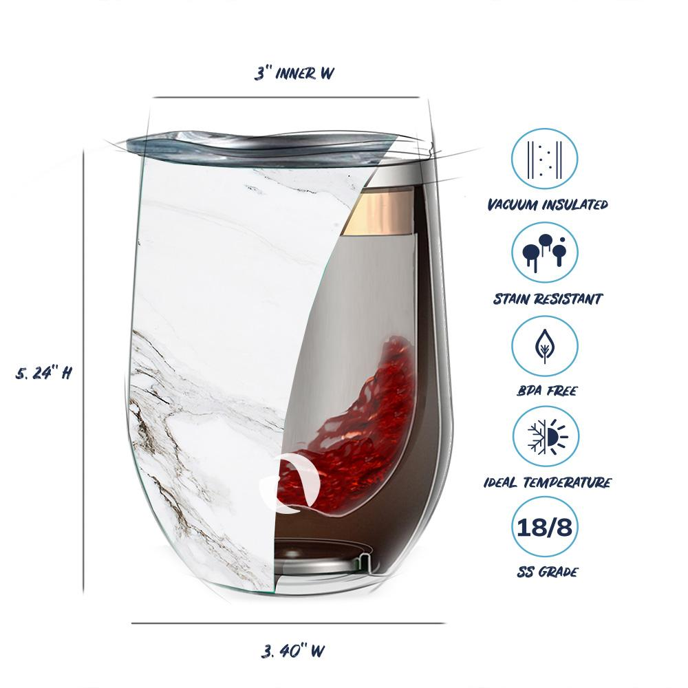 Insulated Wine Tumbler Glass Pacifica White Marble - 12 oz - Veri Vera