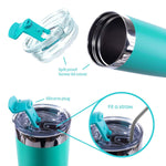 Load image into Gallery viewer, DRINCO®  20oz Insulated Tumbler w/Spill Proof Lid, 2 Straws(Teal) - Veri Vera
