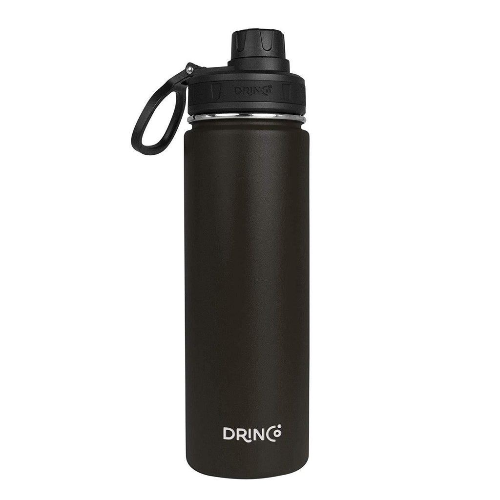 20oz Stainless Steel Sport Water Bottle - Black - Veri Vera