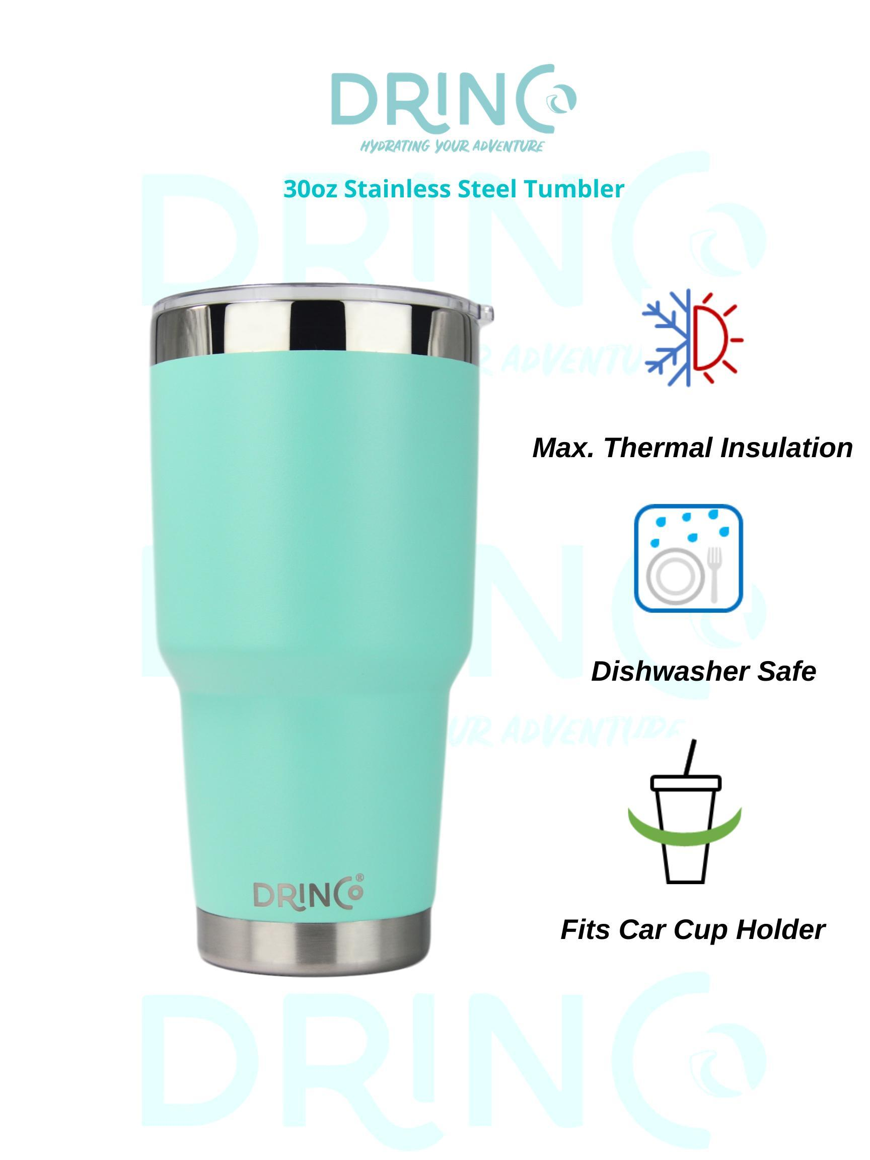 DRINCO® 30oz Insulated Tumbler Spill Proof Lid w/2 Straws (Teal) - Veri Vera