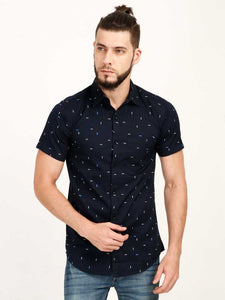 Printed Black Short-Sleeve Shirt