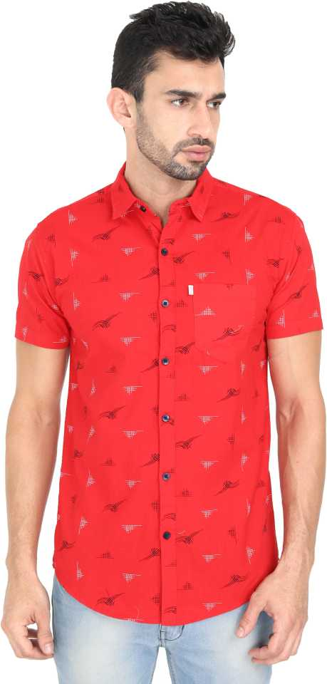 Printed Cotton Short-Sleeve Red Shirt