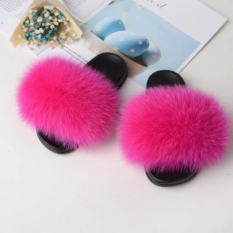 Fox Fur Slides - Solid Colors