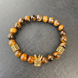 Gemstone Bracelet (Gold Crown/Brown Tiger Eye Stone)