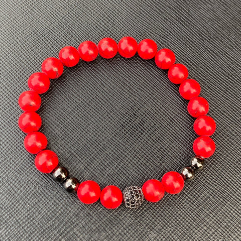 Gemstone Bracelet (Red Stone/Black Diamond)