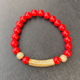 Gemstone Bracelet (Red with Gold Studded Charm)