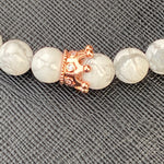 Gemstone Bracelet (Howlite with Rose Gold Studded Crown)