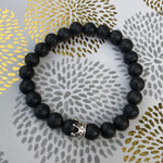 Gemstone Bracelet (Lava Stone with Silver Crown)