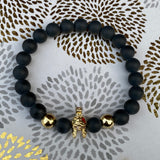 Gemstone Bracelet (Black Onyx and Gold Studded Eyes Knight)