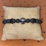 Gemstone Bracelet (Black Crown with Diamond Studded Skull)